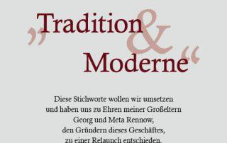 Flyer RENNOW Tradition & Moderne