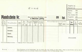 Pfandschein 1937