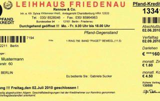 Pfandschein 2000 Leihhaus Friedenau