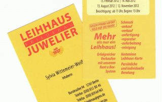 Visitenkarte Vorder-& Rückseite Leihhaus Friedenau