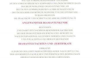 Zertifikat Diamantkunde