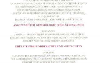 Zertifikat Edelsteinkunde